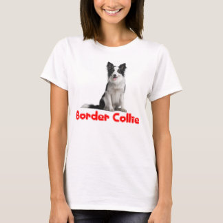 Black and White Border Collie Puppy Dog Tee Shirt