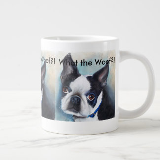 BLACK AND WHITE BOSTON TERRIER LARGE COFFEE MUG