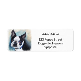 BLACK AND WHITE BOSTON TERRIER RETURN ADDRESS LABEL