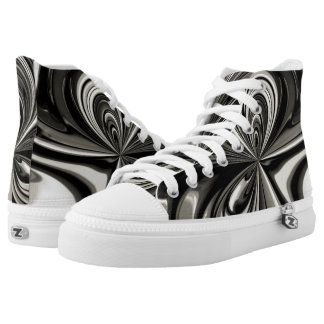 Black and White Bow Abstract Printed Shoes