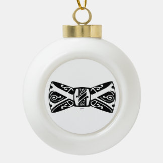 Black and White Bow Tie Ceramic Ball Christmas Ornament