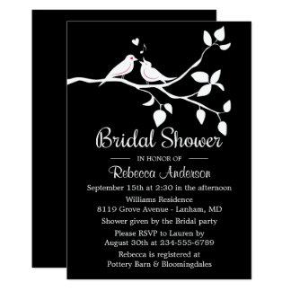 Black And White Bridal Shower Lovebirds Wedding Card