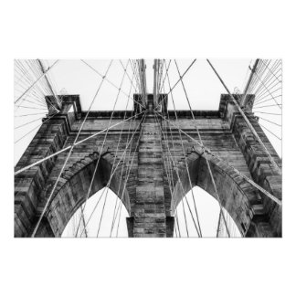 Black and White Brooklyn Bridge Photo NYC