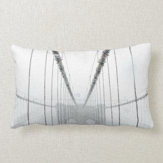 Black and White Brooklyn Brige Lumbar Cushion