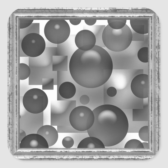 Black And White Bubbles Square Sticker