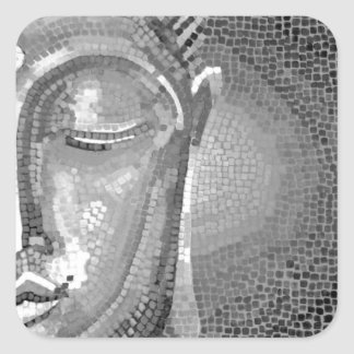 Black and White Buddha Face Square Sticker