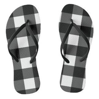 Black and White Buffalo Check Flip Flops