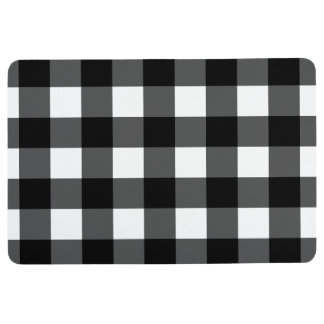 Black and White Buffalo Check Floor Mat