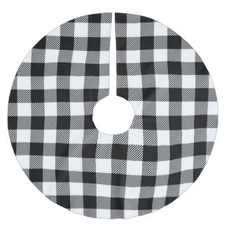 Black and White Buffalo Plaid Tree Skirt