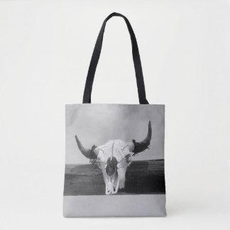 Black and White Bull Skull Tote Bag