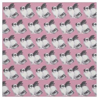 Black and White Bunny Animal Art Fabric