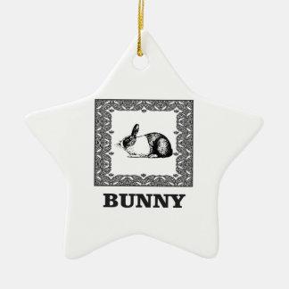 black and white bunny ceramic ornament