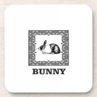 black and white bunny coaster