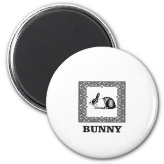 black and white bunny magnet