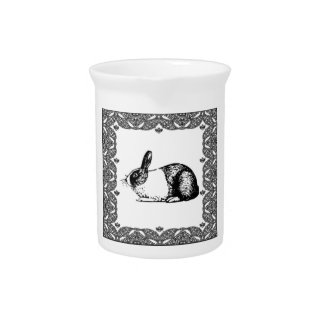 black and white bunny pitcher