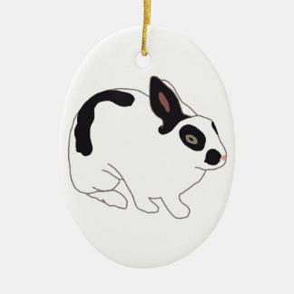 Black and White Bunny Rabbit Ornament