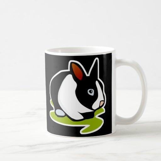 black and white bunny rabbit mug