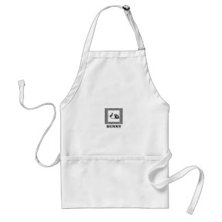 black and white bunny standard apron