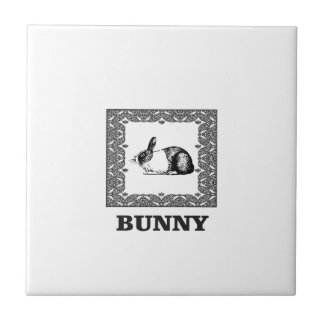 black and white bunny tile
