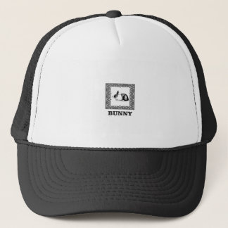 black and white bunny trucker hat