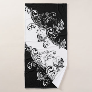 Black and White Butterflies Bath Towel