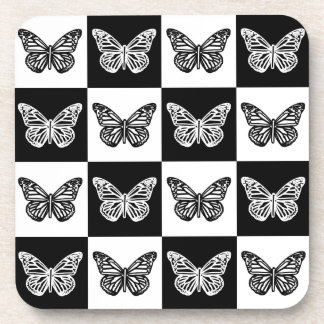 Black and white butterflies coaster
