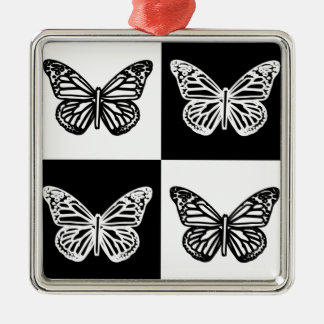 Black and white butterflies ornament