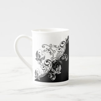 Black and White Butterflies Tea Cup