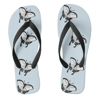 Black and White Butterflies Thongs