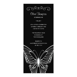 Black and White Butterfly Birthday Invitations