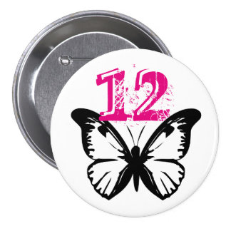 Black and white butterfly button for age 12.