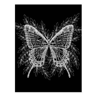 Black and White Butterfly Design Postcard