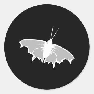 Black and White Butterfly Design. Round Sticker