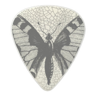 Black and White Butterfly on Cracked Background Acetal Guitar Pick
