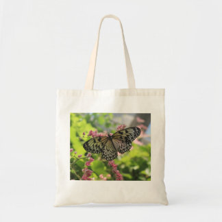 Black And White Butterfly On Pink Flower Budget Tote Bag