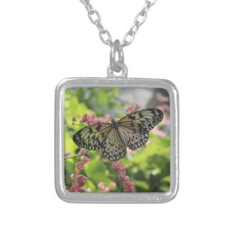 Black And White Butterfly On Pink Flower Square Pendant Necklace