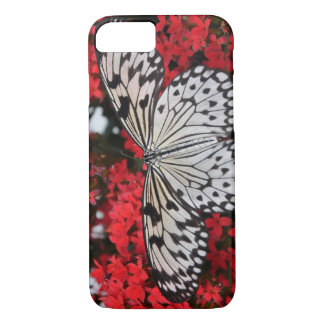 black and white butterfly on red flowers, girly iPhone 7 case