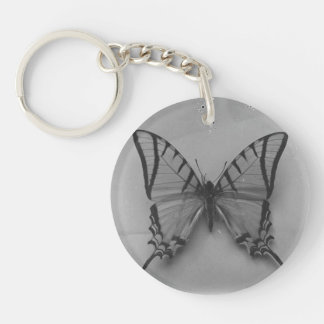 Black and White Butterfly Photo Single-Sided Round Acrylic Key Ring