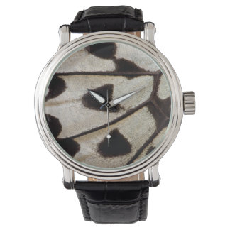 Black and white butterfly wing watch