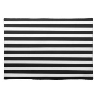 Black and White Cabana Stripe Place Mats