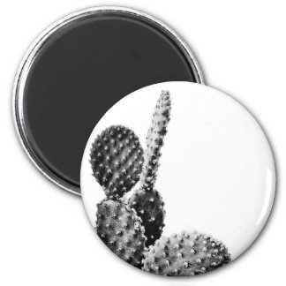 Black and White cactus black and blank 6 Cm Round Magnet