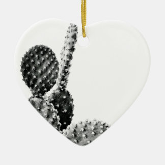 Black and White cactus black and blank Ceramic Heart Decoration