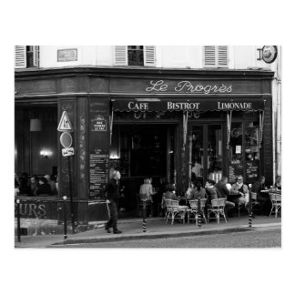 Black and White Cafe in Montmartre, Paris Postcard
