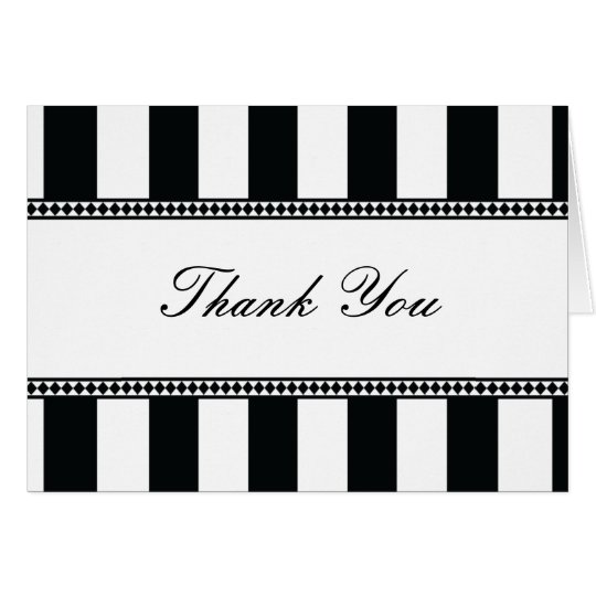 Black and White Cafe Stripes Thank You Note Card