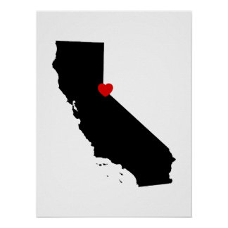 Black and White California with Red Heart Poster