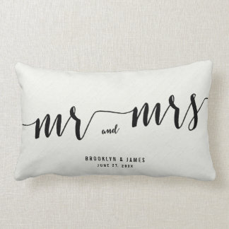 Black And White Calligraphy Lumbar Wedding Pillows