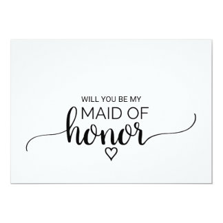 Black and White Calligraphy Maid Of Honor Proposal 13 Cm X 18 Cm Invitation Card