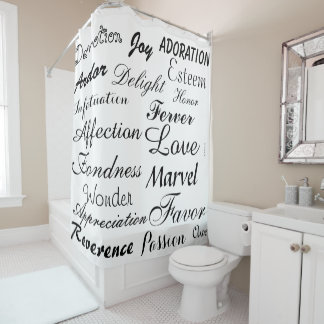 Black and White Calligraphy Shower Curtain