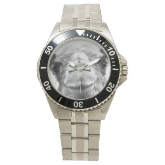 Black and White Camel Kisses Mens Photo Wristwatch