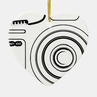 Black and white camera ceramic ornament
